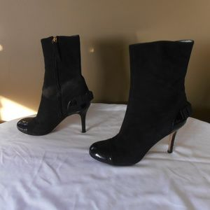Kate Spade mid-calf boots,bk suede,bow in back 8